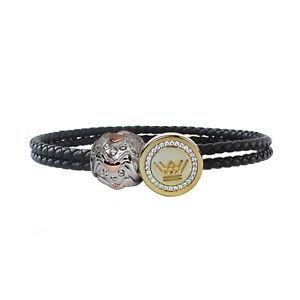 Leather Charm Bracelet Women Sterling Silver Gold Clasp Angel Heart Bead Jewelry
