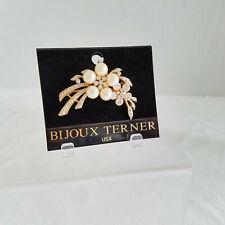 Floral Spray Pin/Brooch on Originl Card Fantastic Bijoux Terner Crystal & Pearl