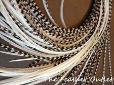 Lot 20 Feather Hair Extensions Bulk Black White Grizzly Natural Real Saddle Raw