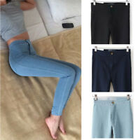 Women's Pencil Stretch Denim Jeans Skinny High Waist Casual Slim Pants Trousers