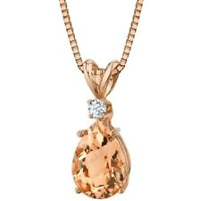 14K Rose Gold Pear Shape 1.75 ct Morganite Diamond Pendant, 18""