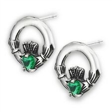 .925 Sterling silver Irish Claddagh Post Earrings w/ Green crystals Celtic