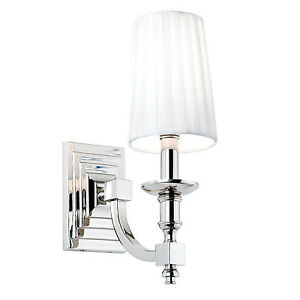 Endon Domina 1lt wall light 40W Nickel effect plate & white faux silk