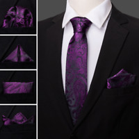 Classic Mens Purple Black Paisley Tie Set Silk Jacqurad Woven Necktie Wedding