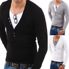 G.B.D. 2in1 Longsleeve T-Shirt Deep V-Neck Schwarz/Grau/Weiß/Blau Poloshirt NEU