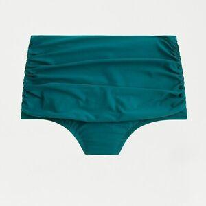 New JCREW Size M High-Waisted Ruched Bikini Bottom Teal Green