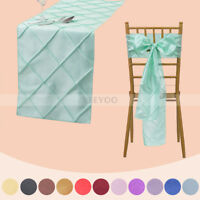 1/5/10/20 PCS Pintuck Table Runner/Chair Sash Ribbon Bow Cover for Wedding Party
