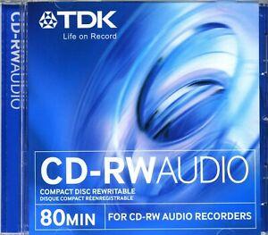 TDK CD-RW80 / CD-RWXG80JCA Audio Music 80 Min CD RW RE-WRITABLE Blank Disc - NEW