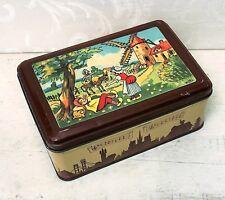 Vintage Bozz Tin Box c 1940s Comical Humorous Dutch Man Loafing, Velter Antique