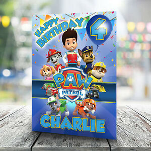 Paw Patrol Birthday Card - Personalise With Any Name and Age