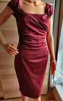 NEW COAST RUCHED PENCIL DRESS SIZE UK 10 US 6 BURGUNDY 90% POLYESTER 10% ELASTAN