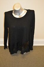 VICTORIA'S SECRET A KISS OF CASHMERE SWING LEATHER POCKET SWEATER BLACK M