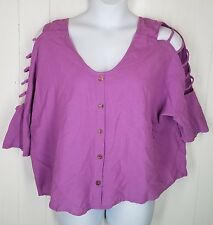 CMC top size M purple color me cotton button front short cut-out sleeve Shirt