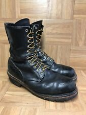 VNTG🔥 Red Wing 2218 Logger Firefighter Tall Black Boots 11.5 Made In USA Steel