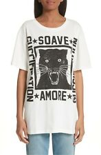 100% AUTH  BNWT Gucci Ivory New Graphic Black Cat Xs Tee Shirt