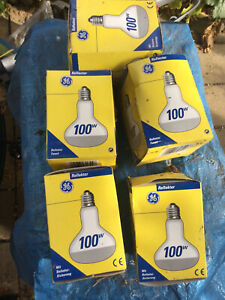 5 R180 Screw Fit Reflector light bulbs 100watts, boxed unused. General Electric