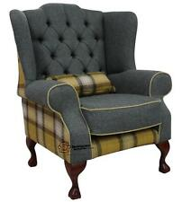 Chesterfield Frederick High Back Wing Armchair Moons Skye Gold Check Tweed Wool