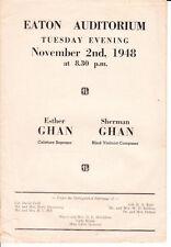 23 page program Eaton Auditorium Toronto 1948 presenting Esther and Sherman Ghan