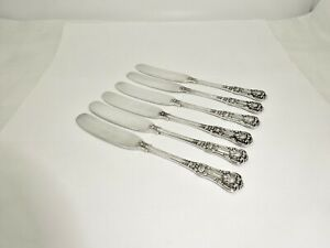 "6 ANTIQUE TIFFANY ENGLISH KING STERLING SILVER BUTTER SPREADERS,5 5/8"",EXCELLENT"