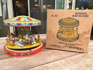 J. CHEIN 1950's Tin Toy Mechanical MERRY GO ROUND #385 In Box USA
