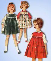 1960s Vintage Simplicity Sewing Pattern 4118 Toddler Girls Jumper Dress Size 2
