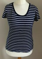 M&Co Size 14 Ladies Short Sleeve Blue & White Striped T Shirt Top