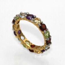 Ring Amethyst Topas Citrin Granat & Peridot 925 Silber MEMORY RING Ø 18.8 mm
