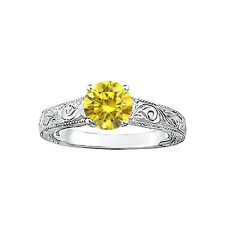 1/3 Carat Fancy Yellow Diamond VS2 Clarity Sparkling Solitaire Engagemeng Ring