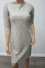 NWT CALVIN KLEIN COLLECTION  Lace Dress  Silver with Silver Metalic Thread Siz 6