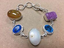 NEW 925 Sterling Silver w. Natural Multi Gemstone Bangle Bracelet  7-8 1/2
