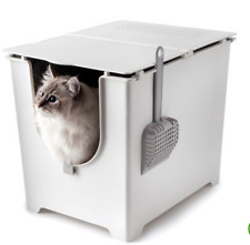 Litter Box Cat Easy Cleaning Hygiene Toilet Top Roof Cats Leak Litter Tray plast