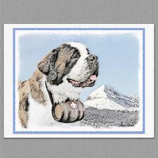 6 St Saint Bernard Dog Blank Art Note Greeting Cards