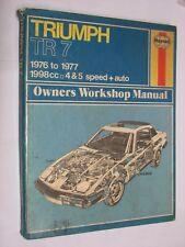 Triumph TR 7 1976-7 1998cc 4 & 5 speed HAYNES MANUAL No. 322. job lot HARDBACK