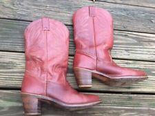 Vintage Women's Red Leather Western Boots Tall Hh West Size 10 M