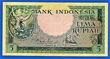 Indonesia - 1957 - 5 rupiah banknote. Crisp UNC