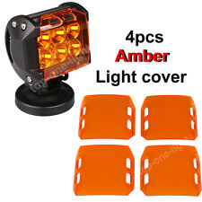 """4PC AMBER LED LIGHT LENS COVERS FOR 4"""" INCH 18W OFFROAD SUV  ATV WORK LIGHT LAMP"""