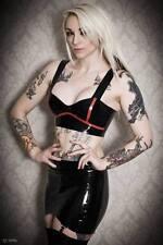 womens latex top skirt set black size 8-16 rubber latex
