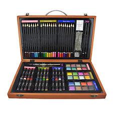 Sketch Drawing Art Set Painting Color Artist Kit Pencil Pastel Wood Case 80 Pcs