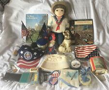 U. S. Navy Women Lot Dolls Books Pins Hats Tins Sewing Kit.Vtg Estate Sale