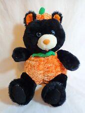 "HALLOWEEN TEDDY BEAR 14"" Plush Black in Pumpkin Kelly Toy Stuffed Animal"