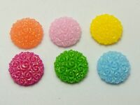 100 Mixed Color Flatback Resin Floral Round Cabochons 12mm DIY Craft