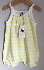 Petit Bateau French Design Lemon Yellow Stripe Baby Grow BNWT Size 6-12 Months