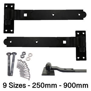 Gate Hinges HEAVY Hook Band Cranked Stable Strap Shed Barn Door +Fixings