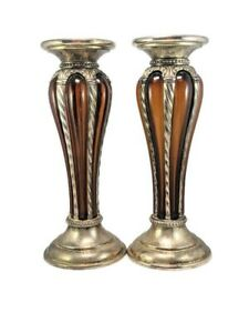 Amber Glass Silver Plated Pillar Candle Holder Candlestick Set of 2 Decoration