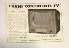 Pubblicità 1956 TV TRANS CONTINENTS TELEVISORE advertising publicitè werbung