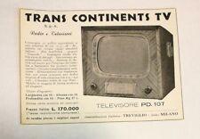 Pubblicità 1956 TV TRANS CONTINENTS TELEVISORE advertising publicitè werbung