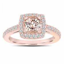 Pink Peach Morganite Engagement Ring 14K Rose Gold 1.28 Carat Certified