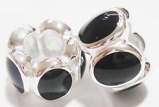 PAIR 925 Sterling Silver & black enamel oval charm bracelet beads - halloween