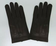 NEW MEN'S LEATHER DRIVING GLOVES SMALL SOFT BROWN LEATHER WINTER LAMBSKIN