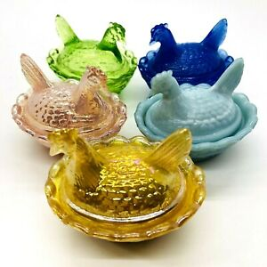 LOT of 5 Boyd Glass Hen On Nest 2 1/2 inch Chicken Dish various colors LOT 1